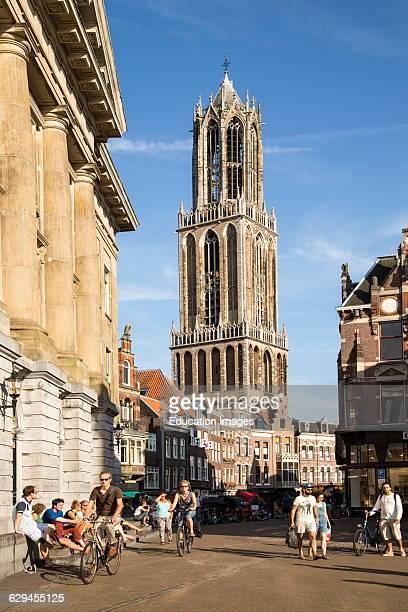 Famous fourteenth century Dom church tower in city of Utrecht Netherlands
