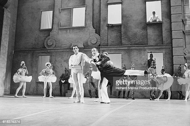 Famous French dancer and choreographer Roland Petit assists dancers during rehearsals for the modern version of Coppelia in Paris Petit plays the...