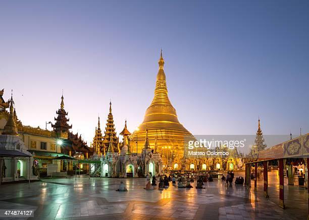 Famous golden Shwedagon pagoda at sunrise, Yangon