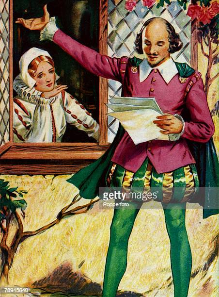 Famous Historical Scenes Colour Illustration pic circa 1600 William Shakespeare and Anne Hathaway William Skakespeare English playwright poet and...