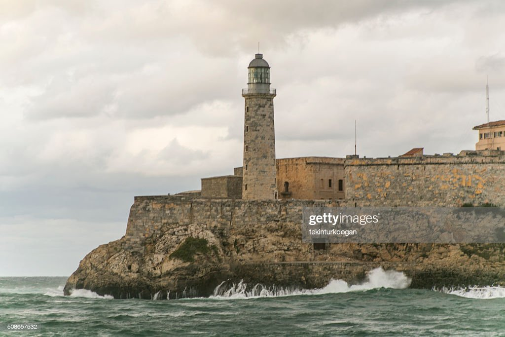 famous historical sea lantern at entrance of havana bay cuba : Stock Photo