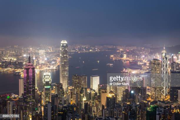 Famous Hong Kong skyline at night from Victoria peak