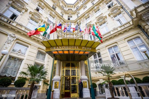 famous hotel pupp in karlovy vary, czech republic - karlovy vary stock pictures, royalty-free photos & images