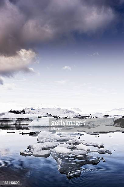 famous iceland vatnajokull glacier and icebergs early morning scene - mlenny stock pictures, royalty-free photos & images