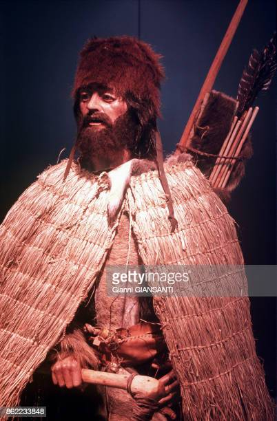 Famous Iceman Otzi, back to Italy after have been analysed by the scientists of University of Innsbruck, 27 March 1998, Bolzano, Italy.