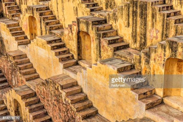 Famous Indian stepwell near Jaipur, Rajasthan