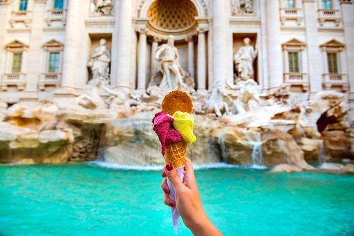 Famous Italian Gelato at Trevi Fountain Rome 1037362838