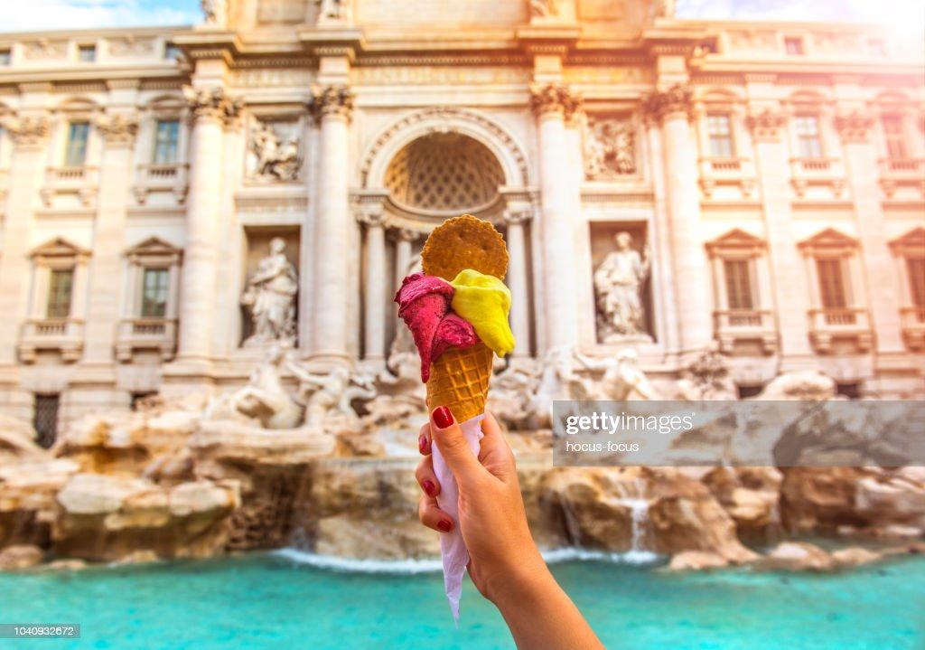 Famous Italian Gelato at Trevi Fountain Rome : Stock Photo