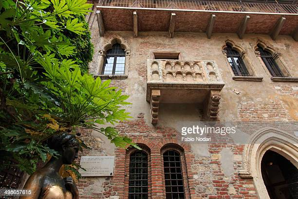 Famous Juliet's balcony with Juliet statue - Verona - Italy