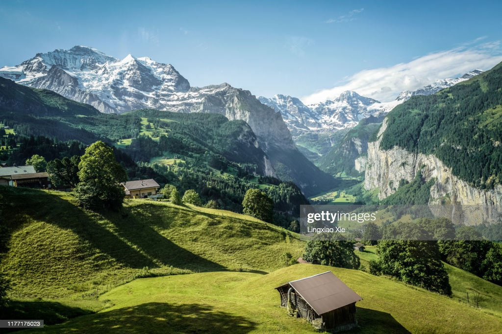 Famous Jungfrau mountain with forest and valley, Swiss Bernese Alps, Switzerland : Stock-Foto