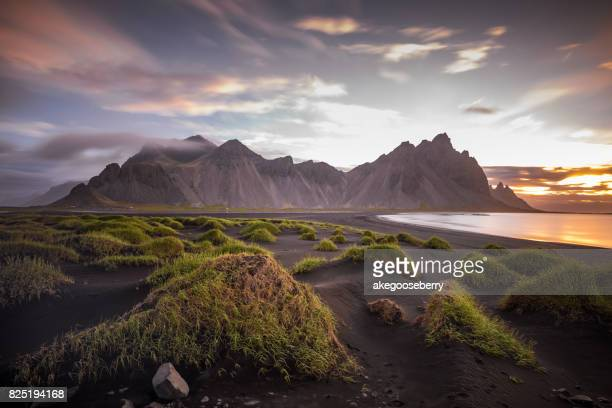 Famous landmark Vestrahorn as seen from the Stocksness peninsula, Iceland