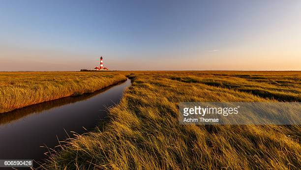 Famous lighthouse Westerheversand - National Park Wadden Sea / Northern Germany