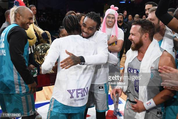 Famous Los and Quavo celebrate after Famous Los is named MVP of the 2019 NBA AllStar Celebrity Game at Bojangles Coliseum on February 16 2019 in...