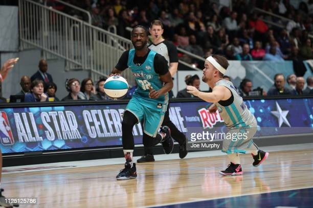 Famous Los dribbles against Brad Williams during the 2019 NBA AllStar Celebrity Game on February 15 2019 at Bojangles Coliseum in Charlotte North...