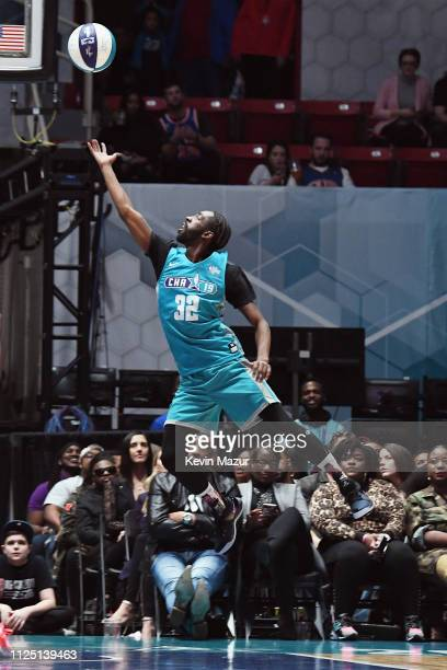 Famous Los shoots the ball during the 2019 NBA AllStar Celebrity Game at Bojangles Coliseum on February 16 2019 in Charlotte North Carolina