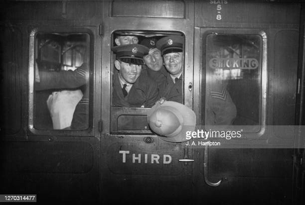 Famous marathon runner Sam Ferris leaves Waterloo Station in London with his RAF unit bound for Iraq 26th February 1934