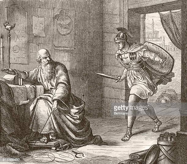 Famous mathematician Archimedes in his study as he is threatened by a Roman soldier He is said to have exclaimed 'Please don't destroy my circles'...