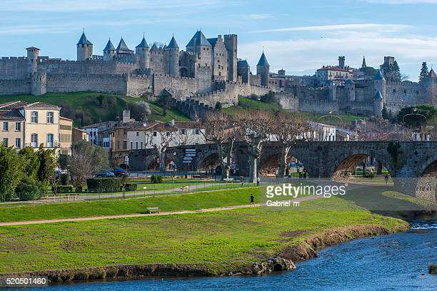 famous medieval castle of carcassonne - gironde stock pictures, royalty-free photos & images