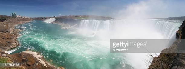 famous niagara falls panorama - stroomversnelling stockfoto's en -beelden