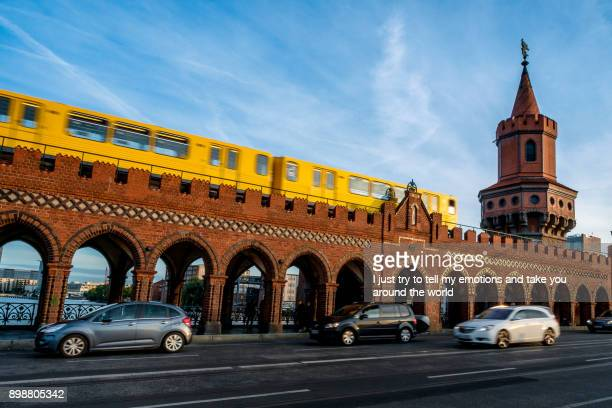 berlin, germany - september 21, 2015: famous oberbaumbrücke in berlin - east stock pictures, royalty-free photos & images