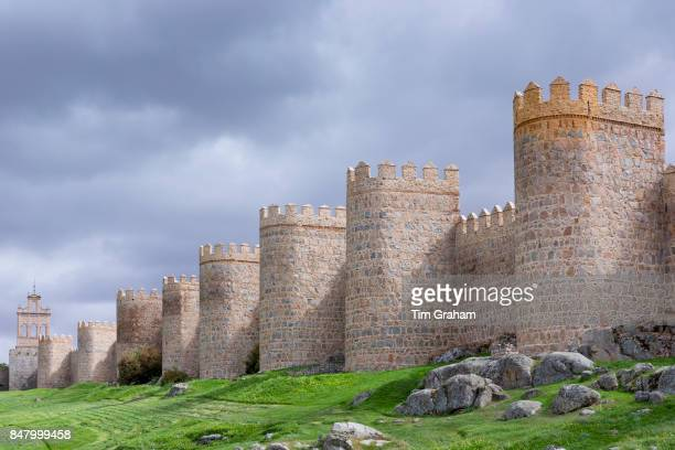 Famous old town of Avila medieval city walls and extramural church UNESCO World Heritage Site Spain