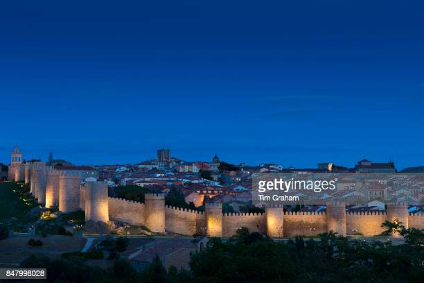 Famous old town of Avila with ExtraMuros churches and medieval city walls UNESCO World Heritage Site Spain