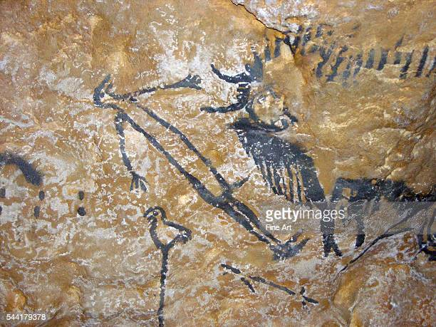Famous Paleolithic cave scene of a mysterious man with a bull bird weapons and other undeciphered symbols