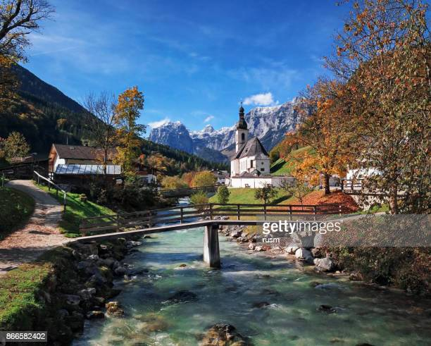 Famous Parish church St. Sebastian at autumn, in Ramsau, Berchtesgaden, Bavarian Alps, Germany
