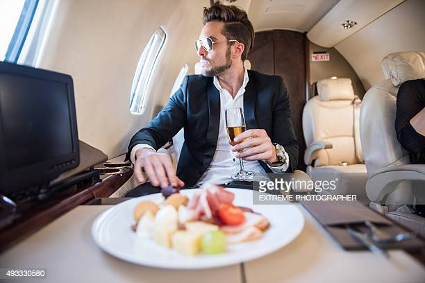 Famous person inside private airplane