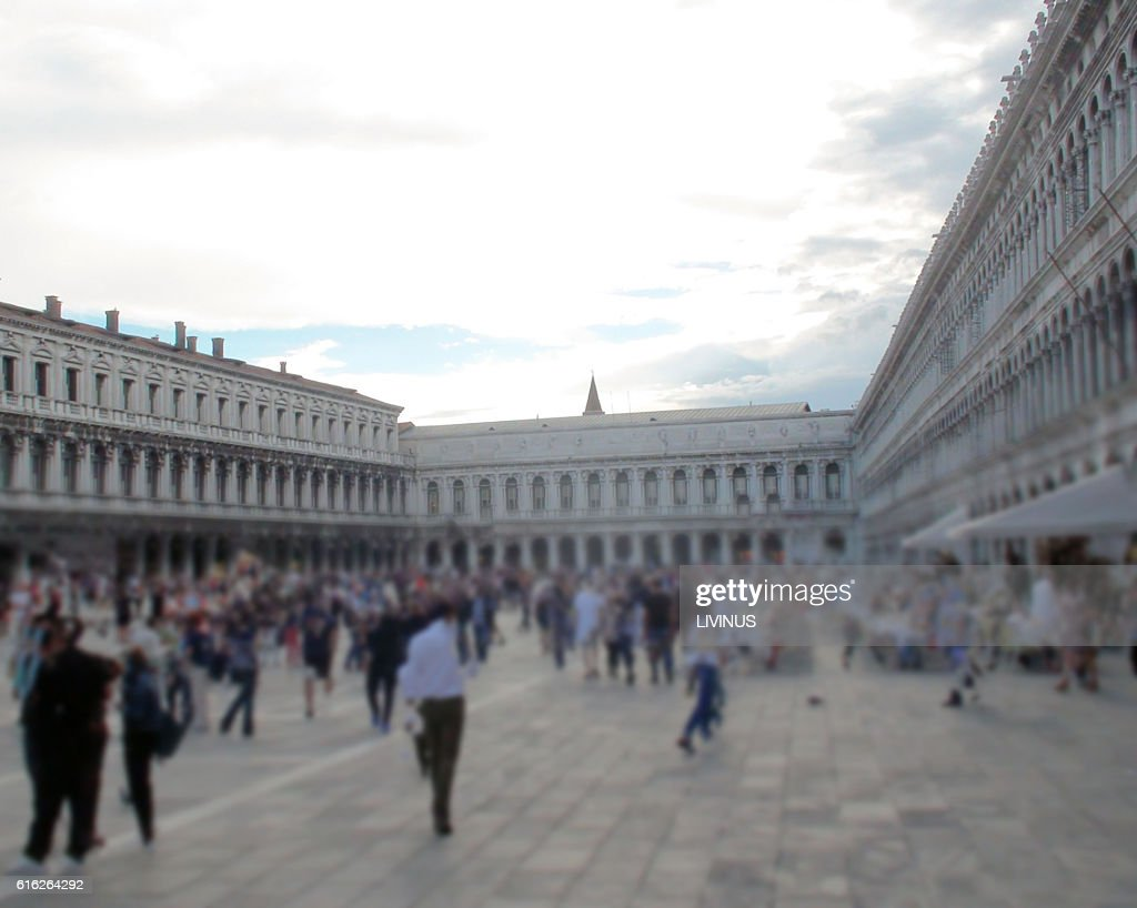 Famous Piazza San Marco Square In Venice Italy Europe : Stock Photo