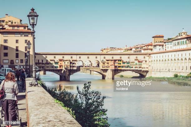 Famous Ponte Veccio bridge over Arno river in Florence, Italy