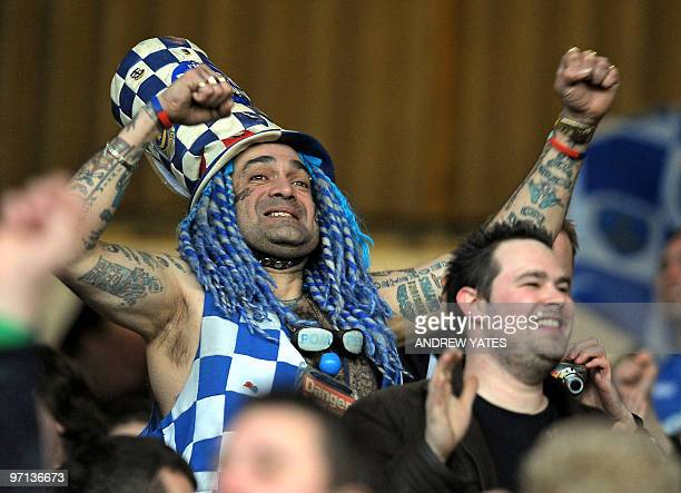 Famous Portsmouth supporter John Anthony Portsmouth Football Club Westwood among Portsmouth fans celebrating after their second goal during the...