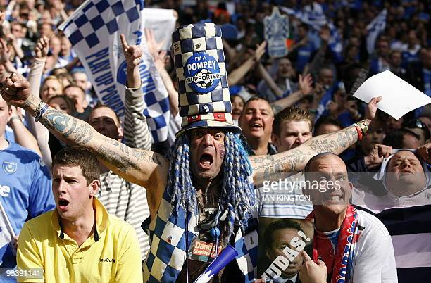 Famous Portsmouth supporter John Anthony Portsmouth Football Club Westwood among Portsmouth fans before the FA Cup semifinal football match between...