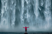 Famous powerful Skogafoss waterfall at south Iceland