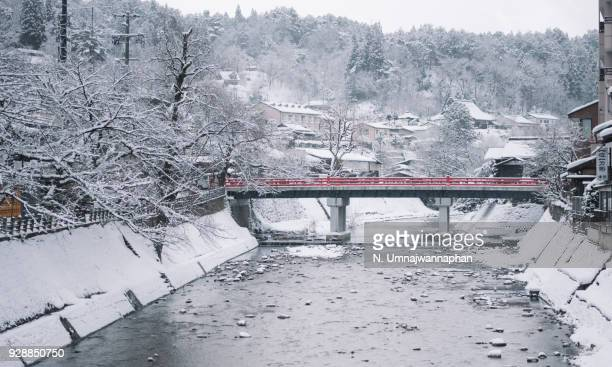 A famous red crossing bridge in Takayama village, Gifu in winter.