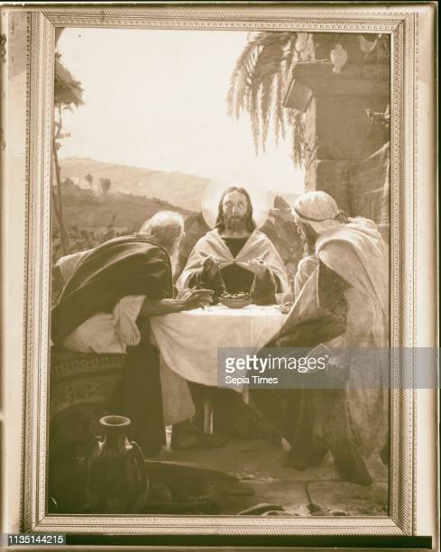 Famous religious paintings 'The breaking of the Bread' at Emmaus by Martinelli in Latin Church at elKubebeh 1898 West Bank Qubaybah