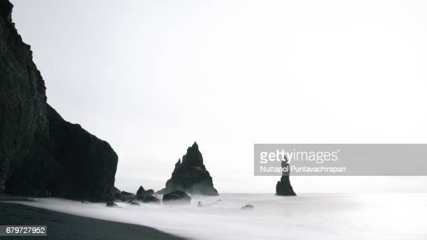 Famous Reynisfjara black sand beach in Southern Iceland