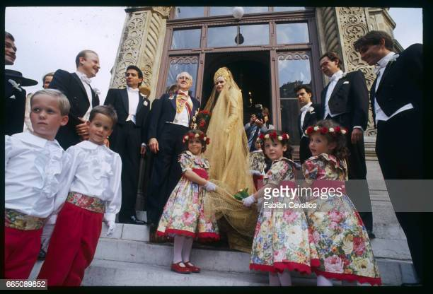 Famous Russian cellist Mstislav Rostropovich and his daughter Olga at the top of the orthodox church stairway with relatives and kids in the...
