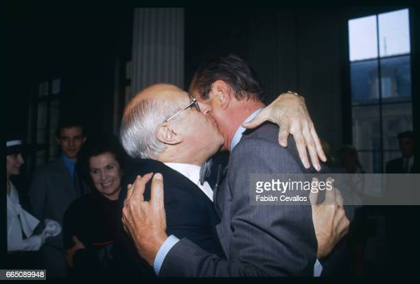 Famous Russian cellist Mstislav Rostropovich embraces the mayor of Paris Jacques Chirac during the wedding of his daughter Olga Rostropovich with...