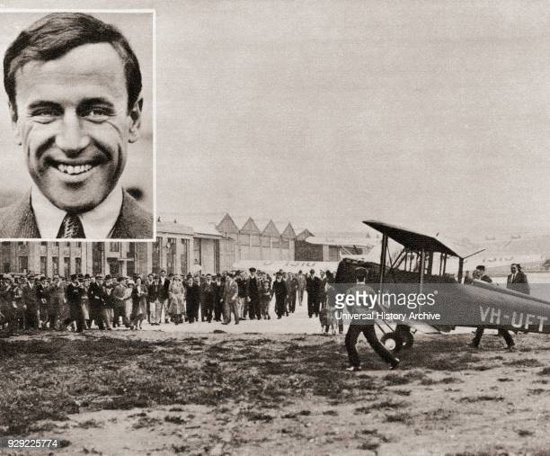 Famous Scottish pioneer aviator Seen here is his plane arriving in England after flying from Australia in a record time of 8 days 20 hours and 19...
