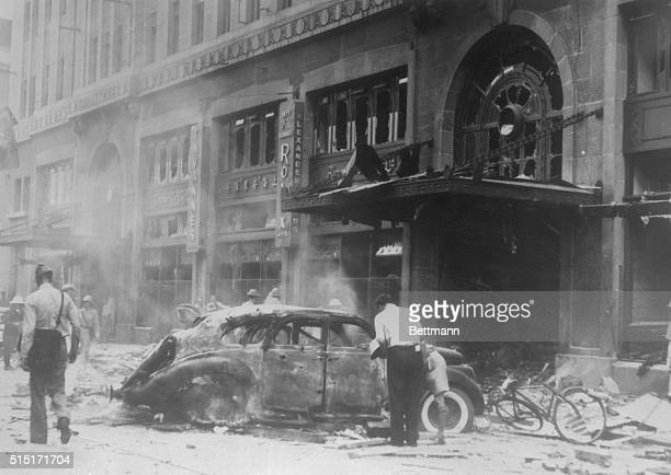 Famous Shanghai Hotel After Jap Bombs Did Work Shanghai China On August 14th the two most prominent Shanghai hotels were subjected to aerial and...