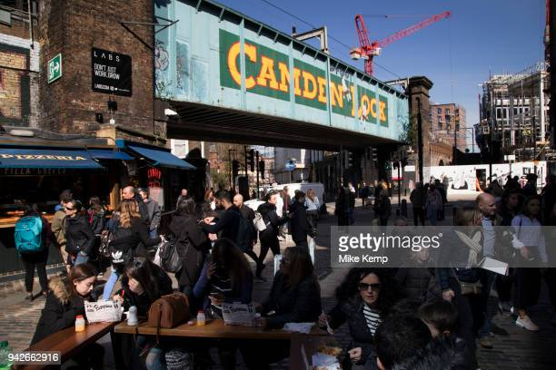 Famous sign for Camden Lock at this busy hang out for young Londoners and tourists in Camden Town, London, England, United Kingdom. Camden Town is...