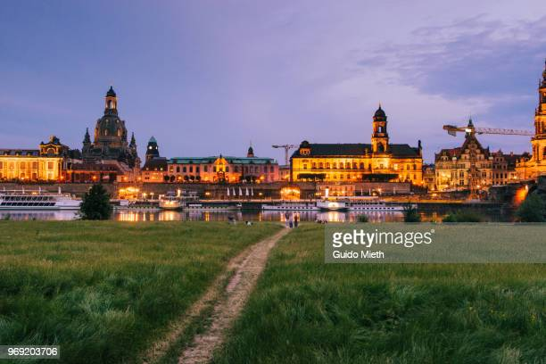 Famous skyline of Dresden and Elbufer, Saxony, Germany.