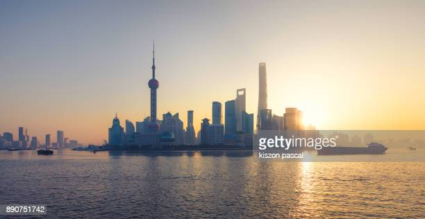 Famous skyline of Shanghai during a sunny morning , China , Asia