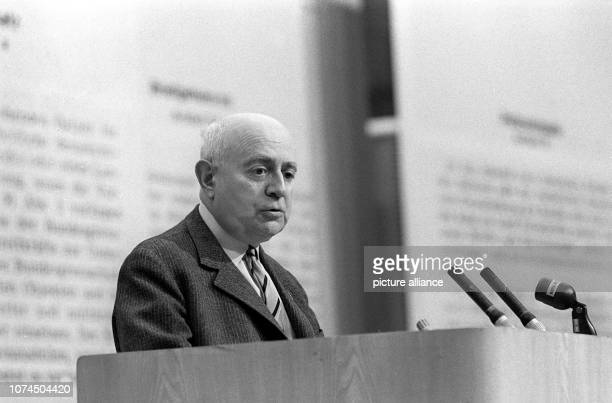 Famous Sociologist Theodor Adorno on 28 May 1968 at an event against the German Emergency Acts in the Great Broadcasting Hall of Hessischer Rundfunk...