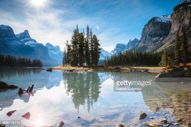 famous spirit island, jasper national park, canada - mountain range stock pictures, royalty-free photos & images