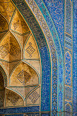 Famous tilework at Jameh or Friday Mosque of Isfahan, Iran