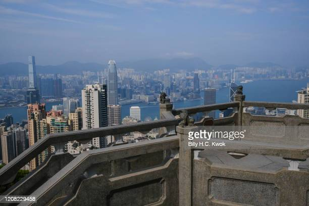 A famous tourist spot is seen empty during a coronavirus outbreak on March 26 2020 in Hong Kong China Latest statistics showed Hong Kong tourist...