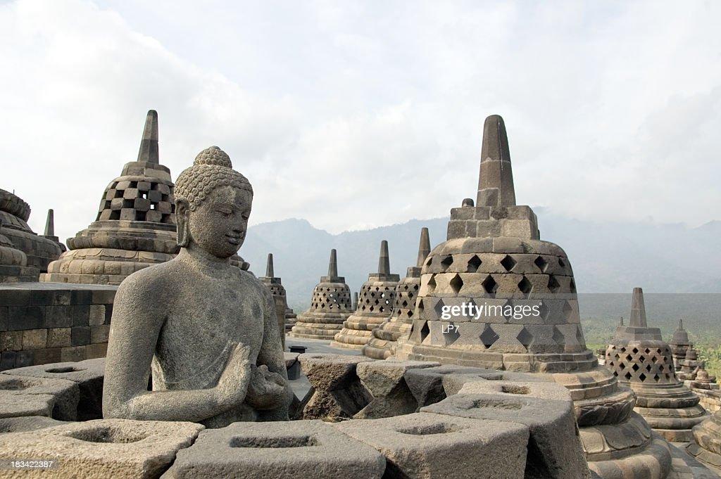 Famous touristic attraction of Borobodur in Java, Indonesia : Stock Photo