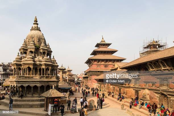 famous view of patan durbar square in the kathmandu valley in nepal - kathmandu stock pictures, royalty-free photos & images